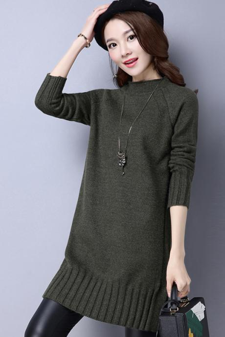 New Autumn Amy Green Color Women Long Sleeve Sweater