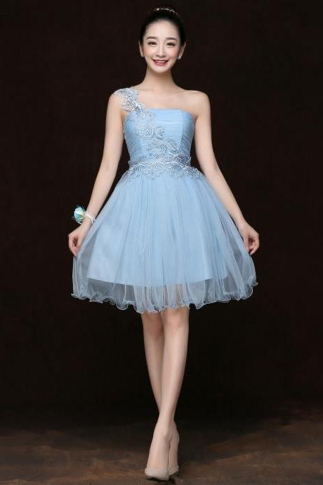 Free Shipping Fashion Women One Shoulder Mini Evening Party Prom Bridesmaid Wedding Dress - Light Blue