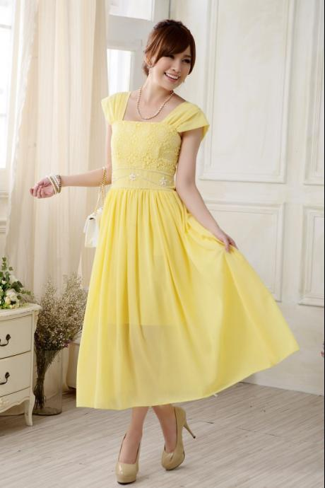Top Selling Evening Dress Sleeveless Chiffon Wedding Bridesmaid Dress - Yellow