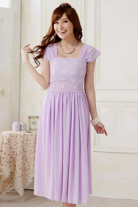 Top Selling Evening Dress Sleeveless Chiffon Wedding Bridesmaid Dress - Purple