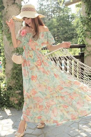 Chiffon ruffle strapless tube top floral print women's dress two ways full dress beach dress-Green