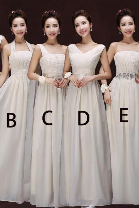 Women Fashion Chiffon Dress Bridesmaid Prom Evening Long Dress - Beige