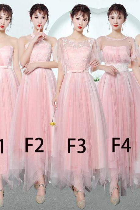 Women Bridesmaid Prom Party Evening Dress Ladies Long Wedding Dress - Pink