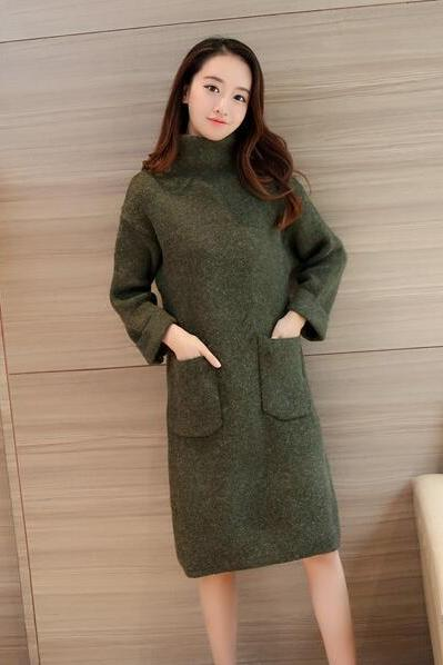 New High Neck Pocket Long Sleeve Knit Sweater - Amy Green