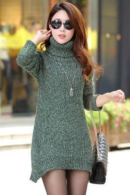 Fashion Warm Loose Long Sleeve Turtle Neck Sweater Dress