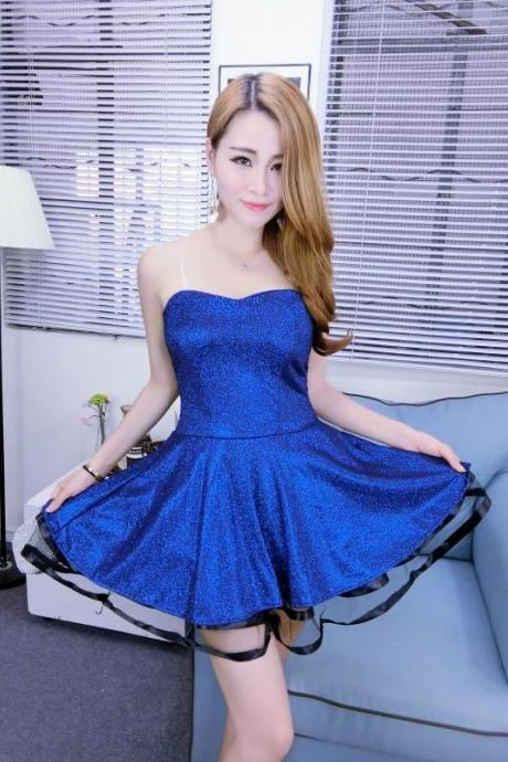 Free Shipping Sexy Strapless Mini Dress - Blue