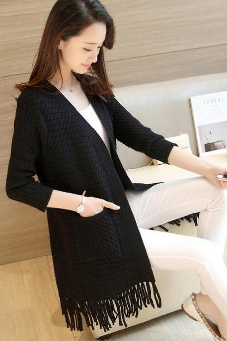 Fashion Ladies Sweet Solid Color Tassel Long Coat Female Spring Autumn Tassel Knit Female Loose Casual Cardigan Sweater - Black