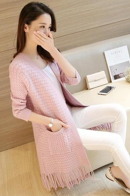 Fashion Ladies Sweet Solid Color Tassel Long Coat Female Spring Autumn Tassel Knit Female Loose Casual Cardigan Sweater - Pink
