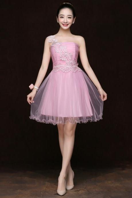 Free Shipping Fashion Women One Shoulder Mini Evening Party Prom Bridesmaid Wedding Dress - Pink