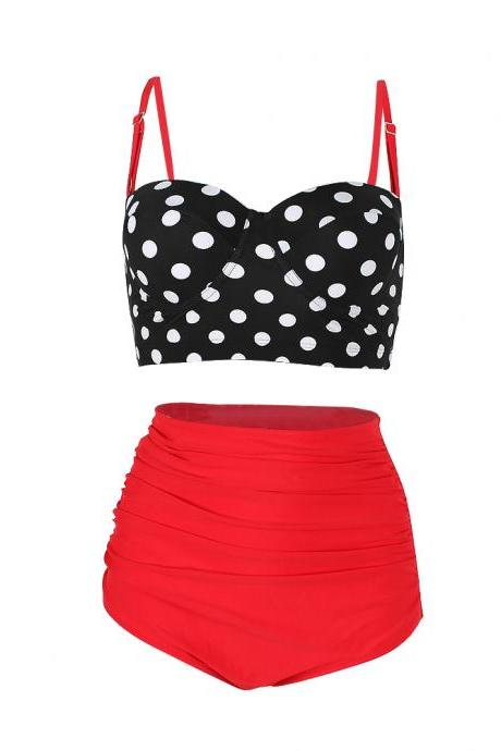 High Waisted Polka Dot Bikini Swimsuit Swimwear - Red
