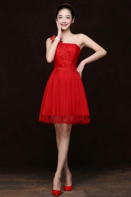Free Shipping Fashion Women One Shoulder Mini Evening Party Prom Bridesmaid Wedding Dress - Red