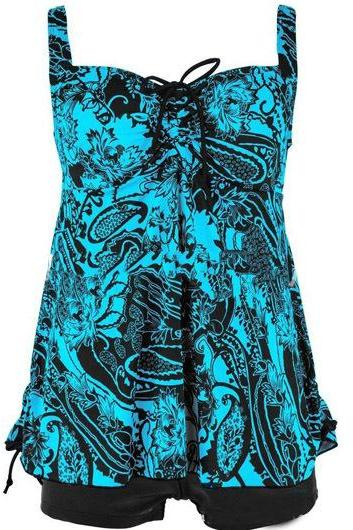 Scoop Neck Printed Tie Front Tankini Set - Blue