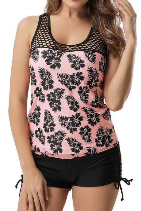 Pink Hollow Scoop Neck Printed Tankini Top and Shorts
