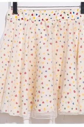 Nice Heart Pattern Chiffon Short Skirt