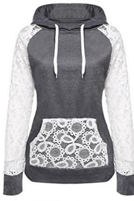 Autumn Women Sweatshirt Slim Lace Patchwork Hooded Pocket Pullover