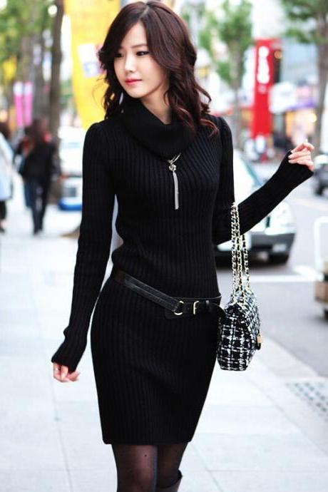 Slim Long Sleeved Turtleneck Sweater Knit Dress - Black
