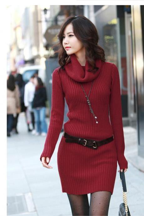 Slim Long Sleeved Turtleneck Sweater Knit Dress - Red