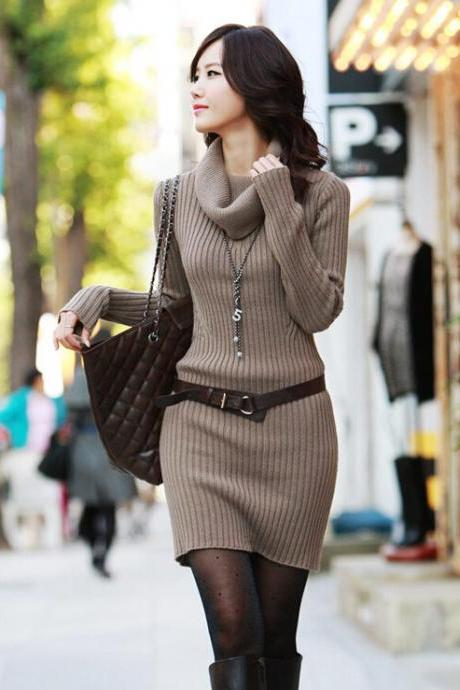 Slim Long Sleeved Turtleneck Sweater Knit Dress - Light Brown