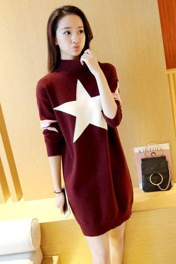 New Women star Printing Long Sweater Dress - Wine Red
