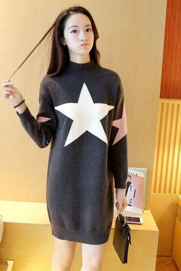 New Women star Printing Long Sweater Dress - Dark Grey