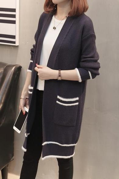 Women Fashion Loose Long Sleeve Knitted Sweater Streetwear Tops Cardigan Outwear Coat - Navy Blue