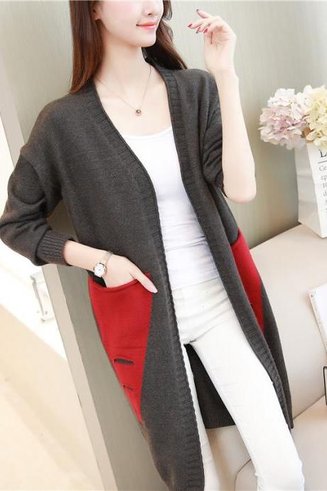 Long Cardigan Women Autumn Winter Female Long Sleeve Cardigan Slim Pockets Sweater Knitted Cardigans Women Tops - Grey