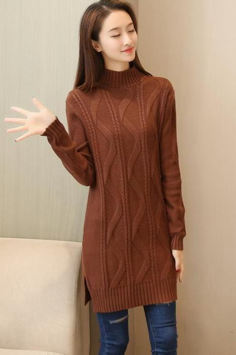 New Solid Warm Oversize Long Sleeve Casual Knitted Sweater - Brown