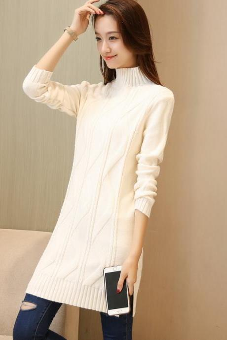 New Solid Warm Oversize Long Sleeve Casual Knitted Sweater - White