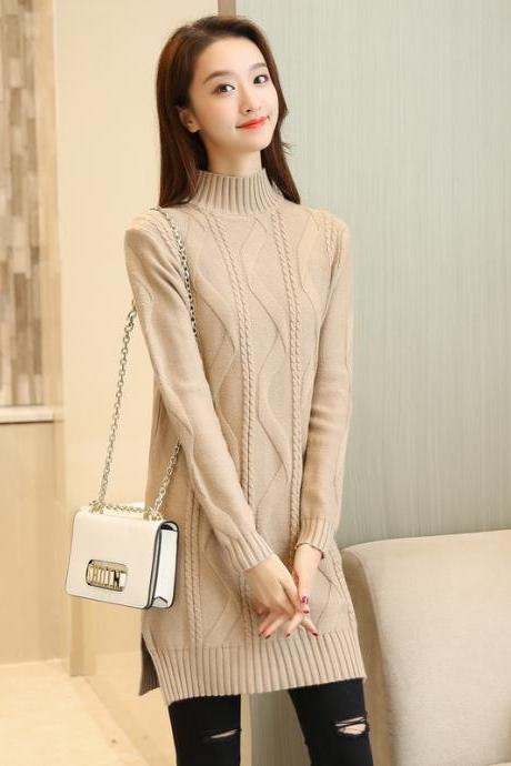 New Solid Warm Oversize Long Sleeve Casual Knitted Sweater - Khaki