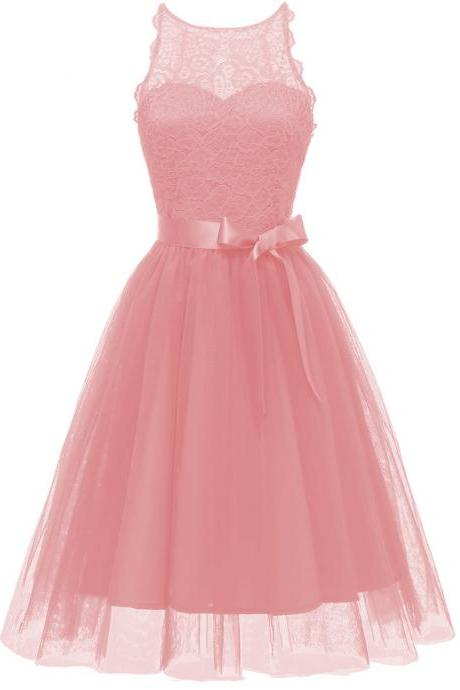 Princess Style A Line Halter Neck Sleeveless Hollow Lace Floral Bridesmaid Wedding Dress - Pink