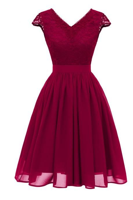 Hot Sexy Open Back V Neck Lace Dress - Wine Red