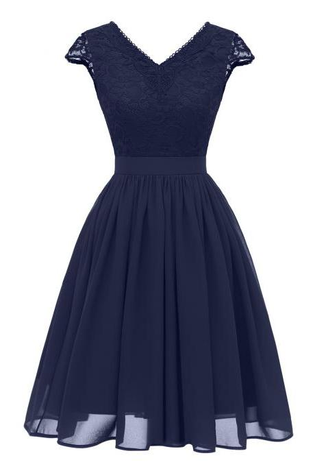 Hot Sexy Open Back V Neck Lace Dress - Navy Blue