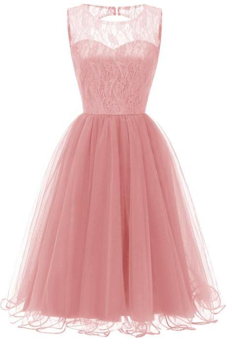 Princess Style O Neck Sleeveless Open Back Hollow Lace Floral Bridesmaid Wedding Dress - Pink