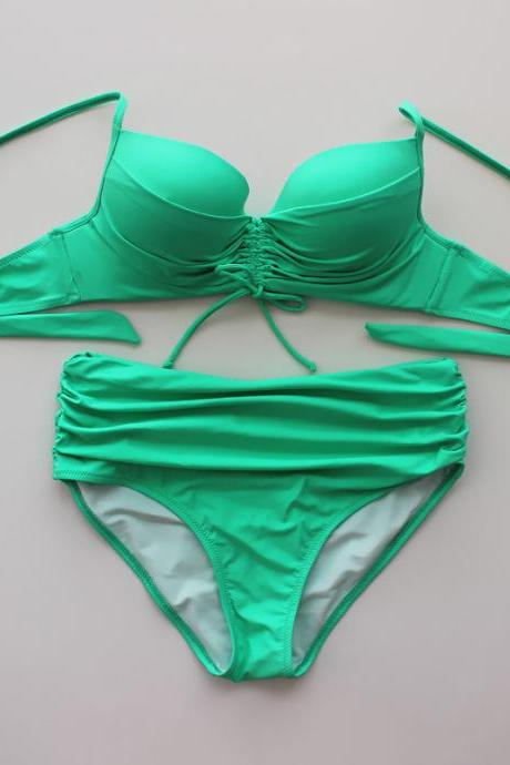 Solid Color Bikini Swimsuit Sexy High-Waisted Bikini - Green