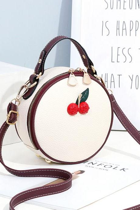 White Round Shape Red Cherry Shoulder Bag