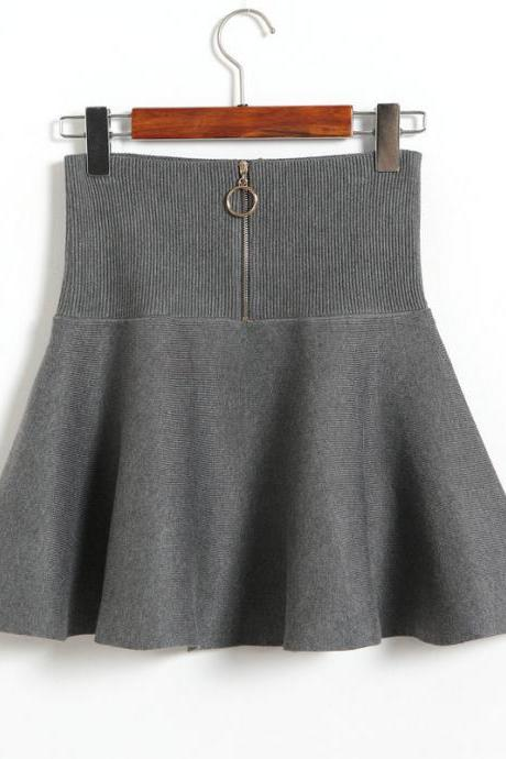 Women Fashion High Waist A-line Slim Fit Knit Skirt - Grey