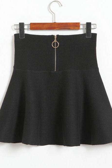 Women Fashion High Waist A-line Slim Fit Knit Skirt - Black