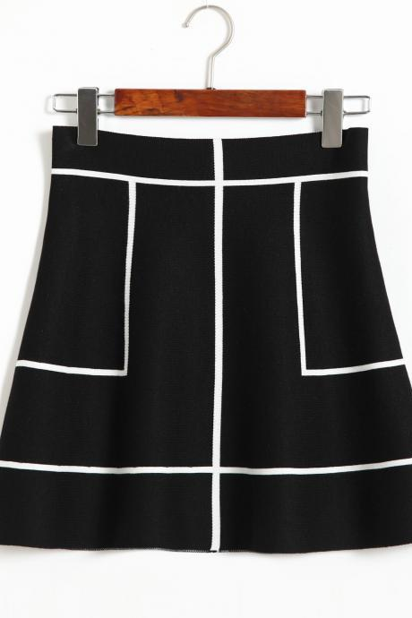 New Sweet A-line Knit Thin Skirt - Black & White