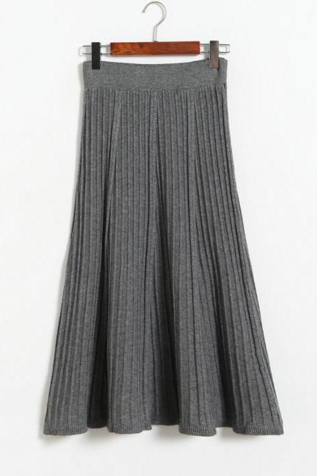 Autumn Winter Long Knitted Skirts Women Solid Color High Waist Casual Warm A-Line Skirt - Grey
