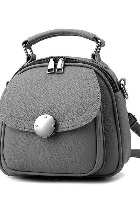 Cute Backpack Small Bag School Mini Girls Women Leather Shoulder Bag - Grey