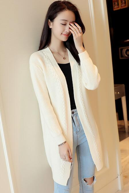 New Solid Women Long Cardigan Sweater - Beige