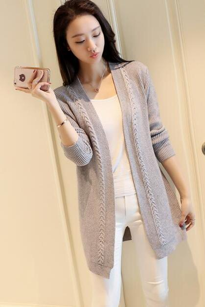 New Solid Women Long Cardigan Sweater - Grey
