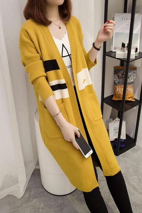 New Autumn Long Sweater Loose Coat - Yellow