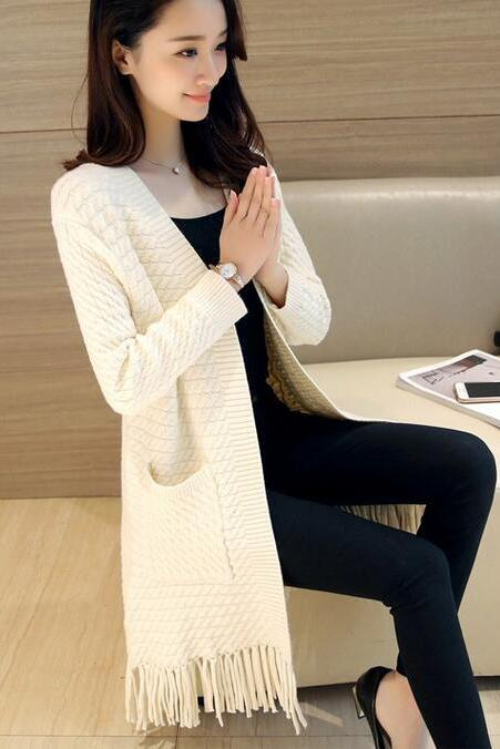 Fashion Ladies Sweet Solid Color Tassel Long Coat Female Spring Autumn Tassel Knit Female Loose Casual Cardigan Sweater - Beige