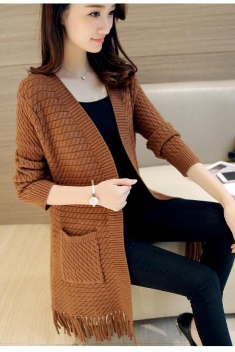 Fashion Ladies Sweet Solid Color Tassel Long Coat Female Spring Autumn Tassel Knit Female Loose Casual Cardigan Sweater - Khaki