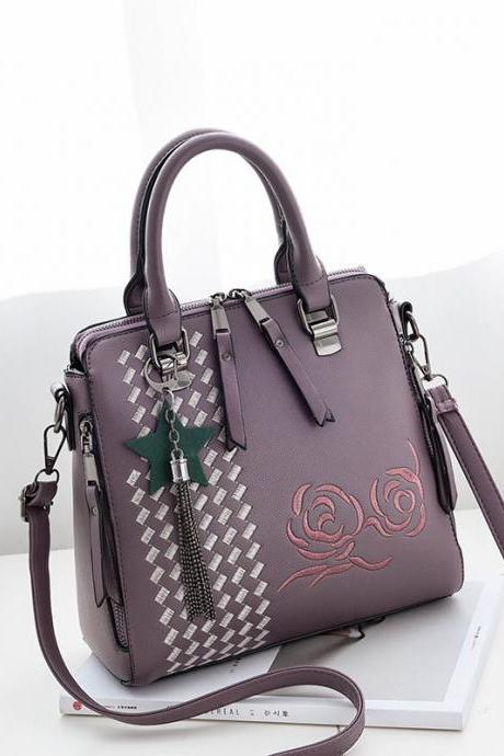 New Flower Style Women Fashion Handbag Crossbody Shoulder Bag - Purple