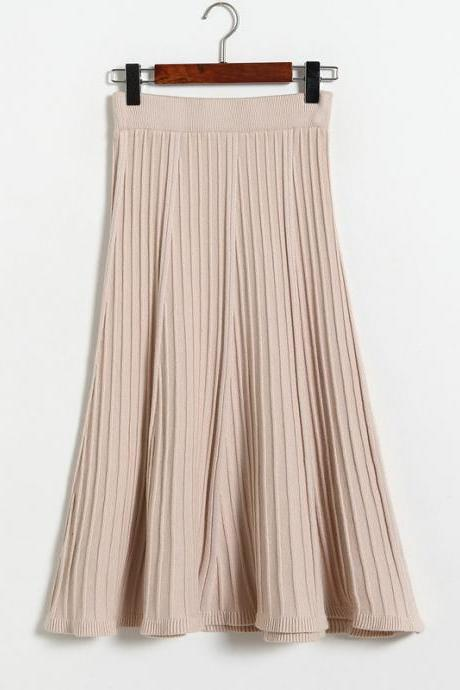 Autumn Winter Long Knitted Skirts Women Solid Color High Waist Casual Warm A-Line Skirt - Beige
