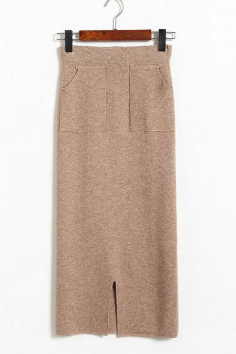 Autumn Winter High Waist Women Skirt Elastic Waist Straight Skrit Office Lady Knitted Skirt - Khaki
