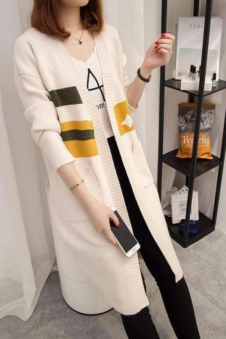 New Autumn Long Sweater Loose Coat - Beige