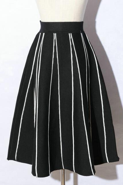 Autumn Women A Line Skirt - Black